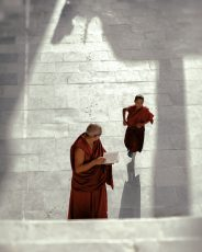 young monk runs late to class at thiksey monastery