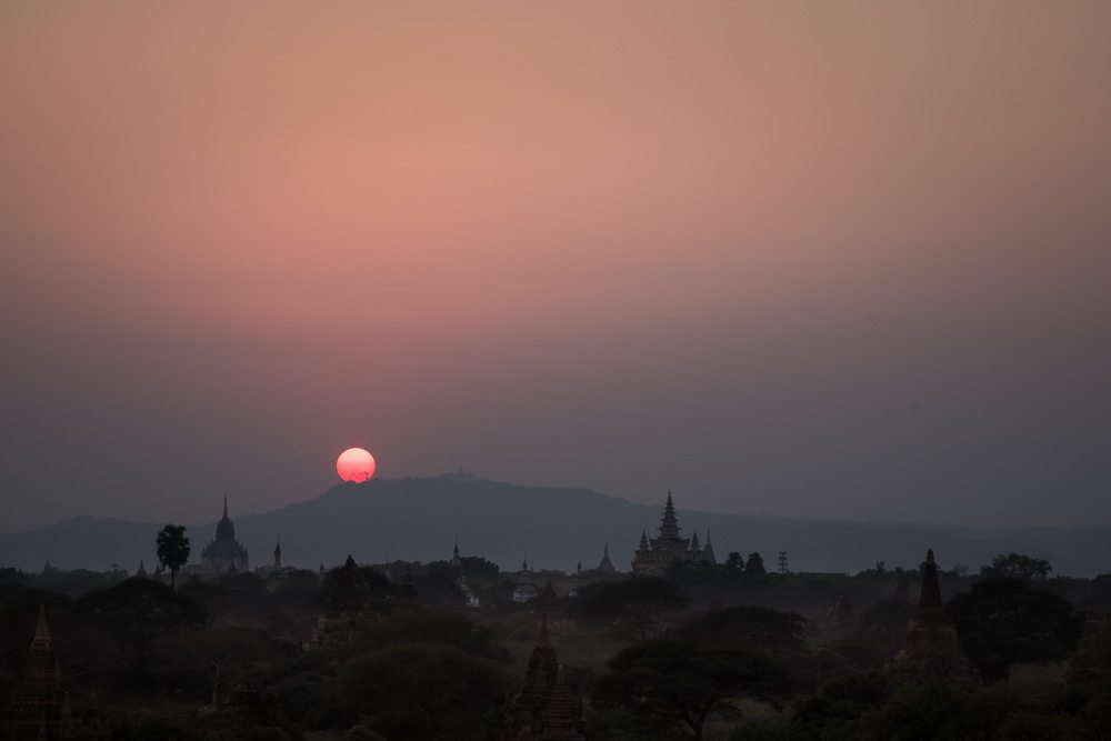 sunset over stupas at Bagan myanmar