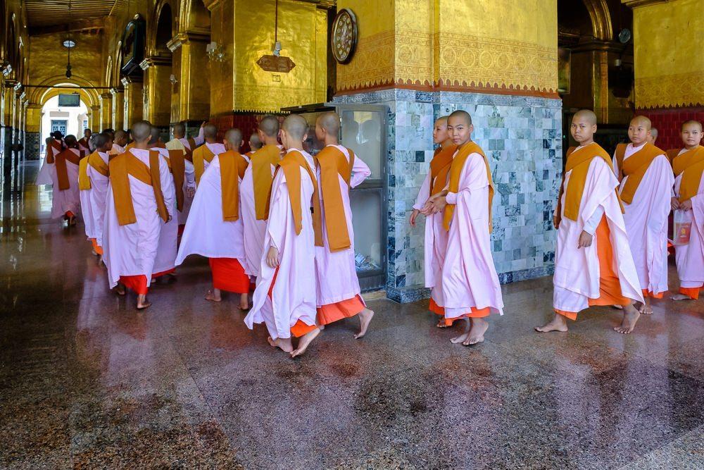 monastery nuns, yangon, myanmar