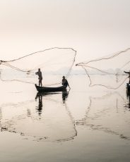 Casting fishing nets at dawn, Inle lake Myanmar
