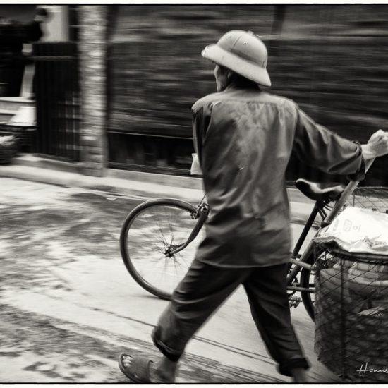 rural vietnam , man and bicycle, north vietnam