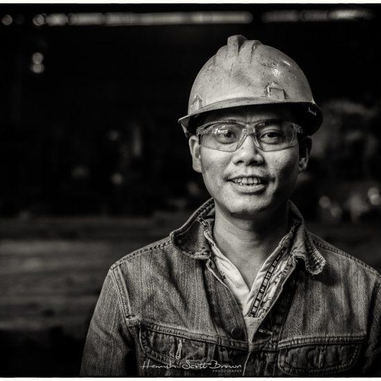steel worker with hard hat bac ninh , hanoi