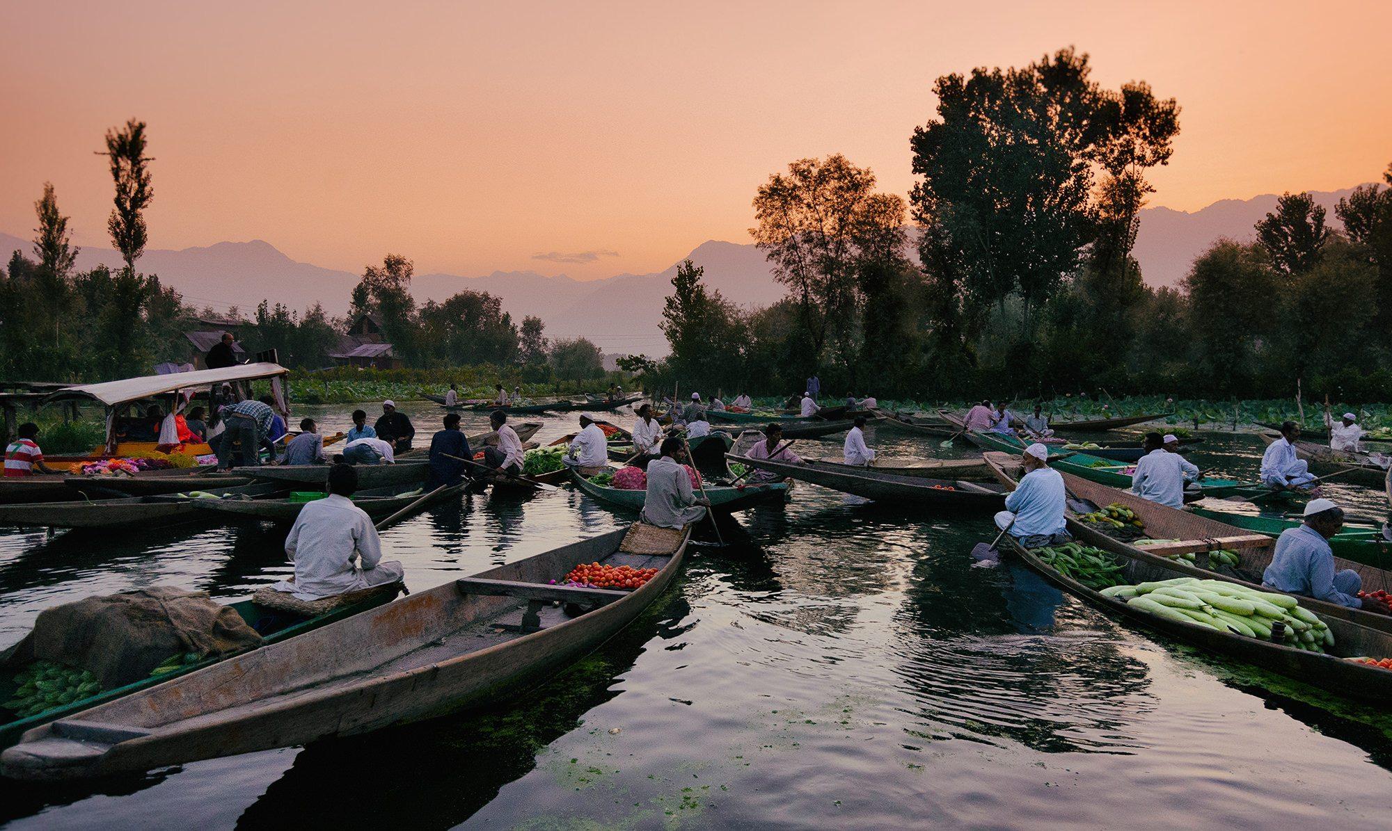 The dawn market and shikaras on Srinagar's Dal Lake - Kashmir ©Hamish Scott-Brown