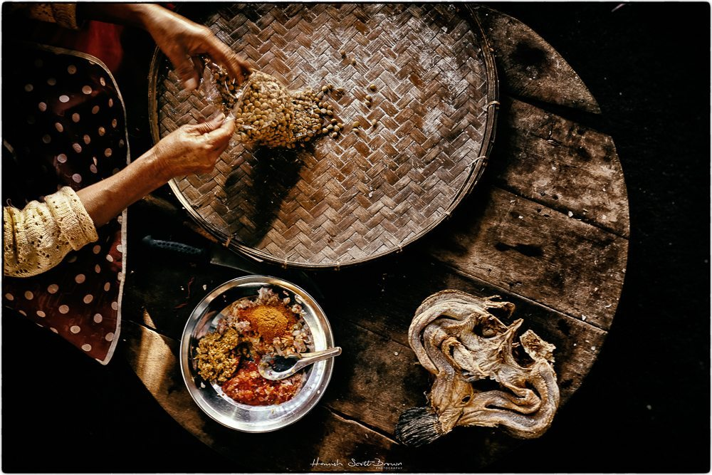 overhead food preparation, dried fish in myanmar © Hamish Scott-Brown