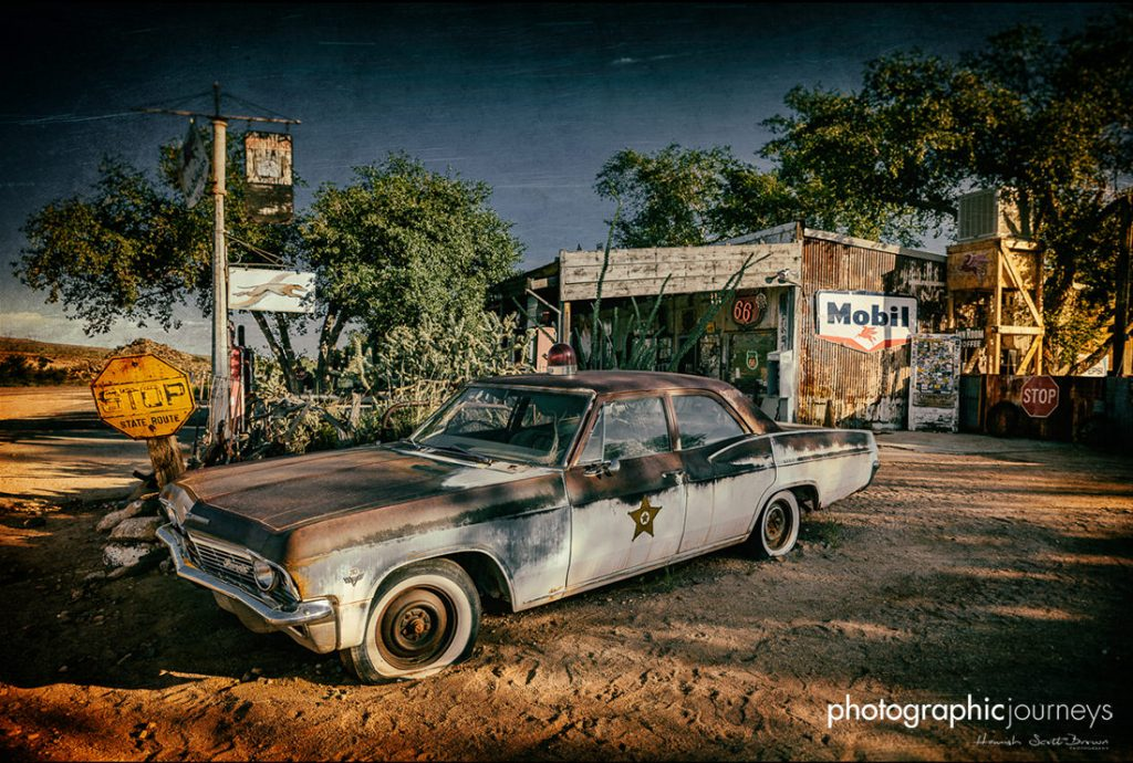 abandoned 60's police car on route 66 california ©Hamish Scott-Brown