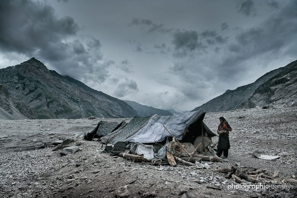 Bakarwal nomads by the tent in Ladakh Kashmir © Hamish Scott-Brown