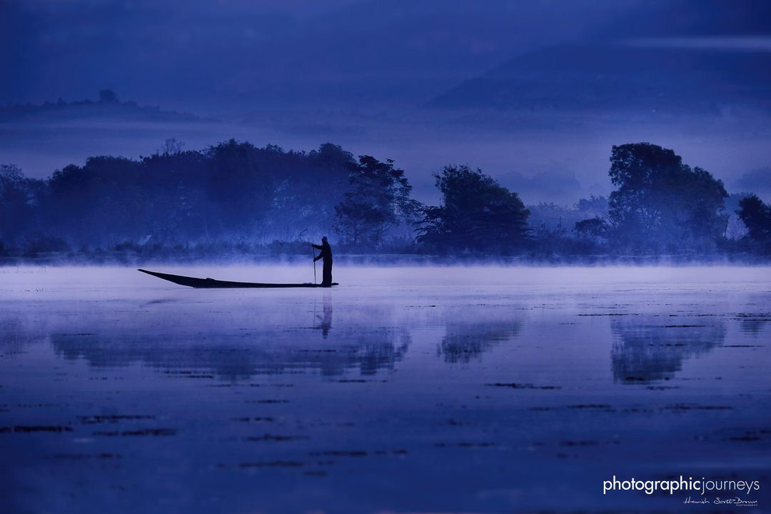 dawn light silhoettes a fisherman on inle lake, shan state myanmar © Hamish Scott-Brown