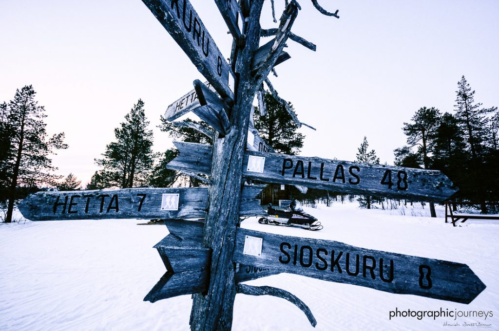 arctic wilderness signpost in northern finland © Hamish Scott-Brown