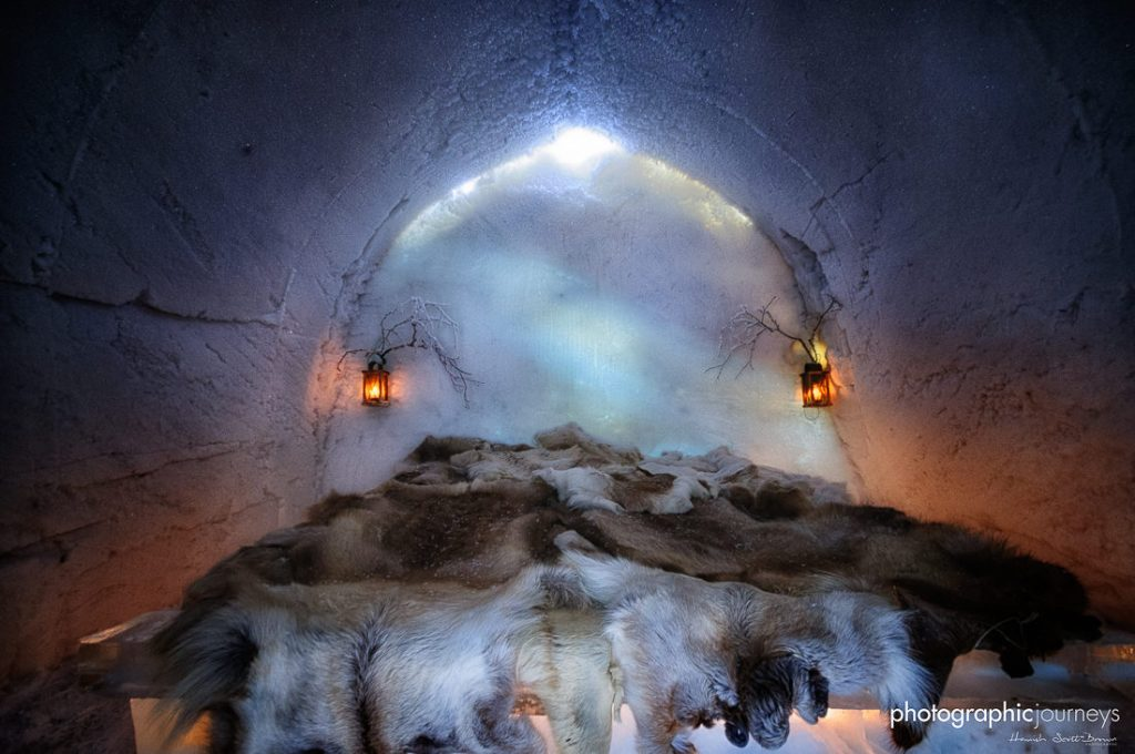 cosy reindeer skin bed in the ice hotel northern Finland © Hamish Scott-Brown