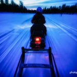 skidoo making it's way back through arctic forest northern Finland © Hamish Scott-Brown