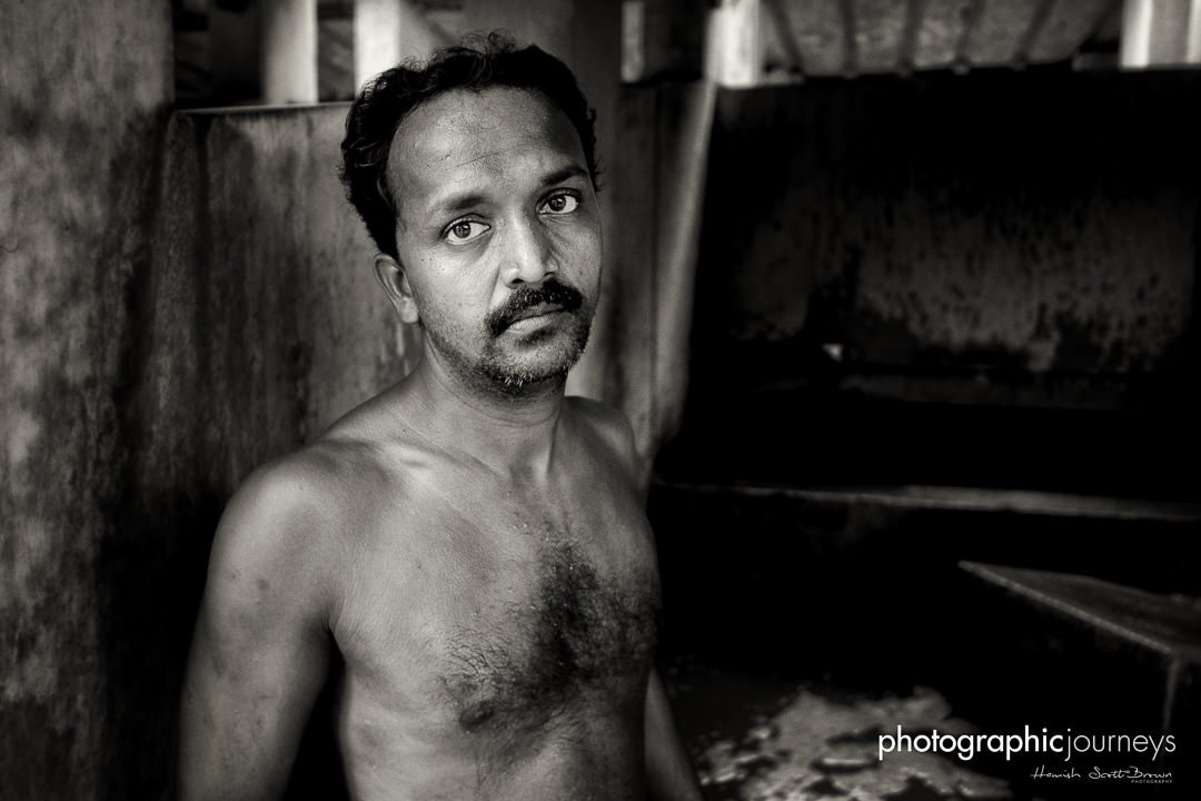 portrait of a laundry worker at the dhobi khana in cochin © Hamish Scott-Brown