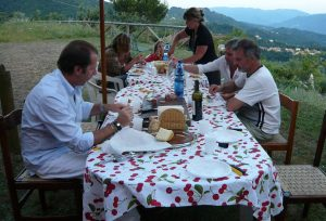 Tuscan meal outdoors
