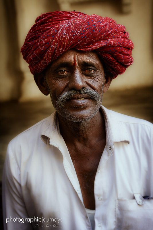 portrait of a red turban man in jodhpur © Hamish Scott-Brown